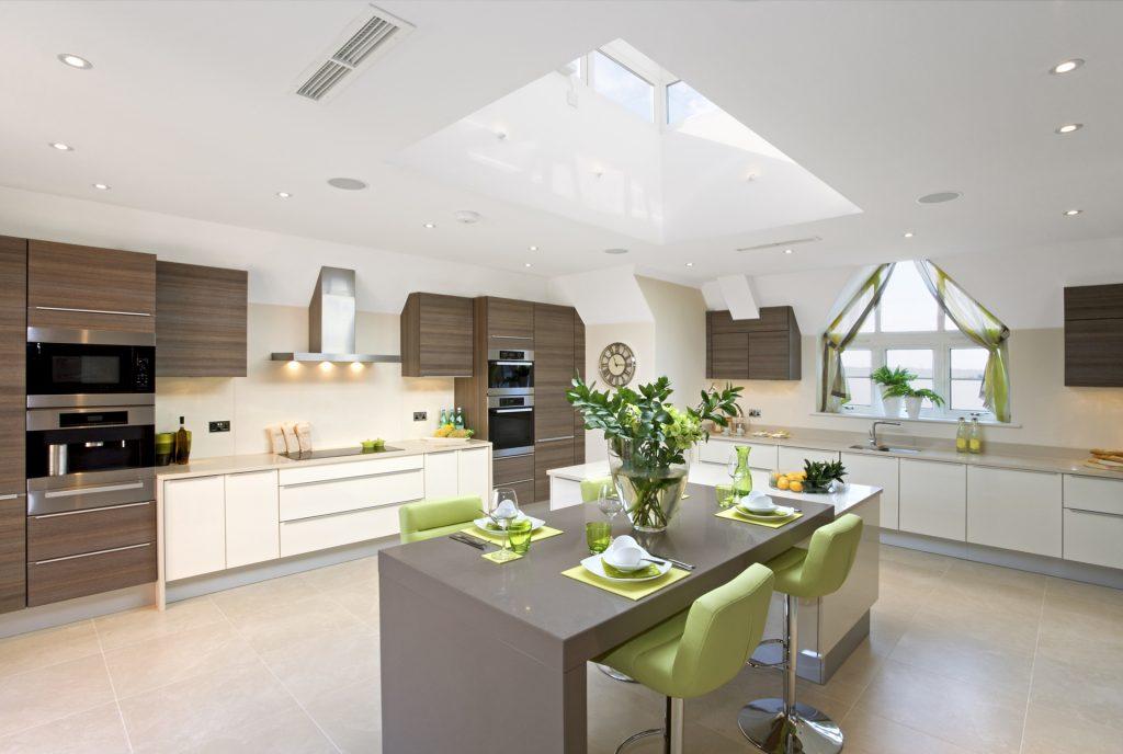 White and wooden kitchen with green accessories, kitchen showroom kent, modern kitchen ideas