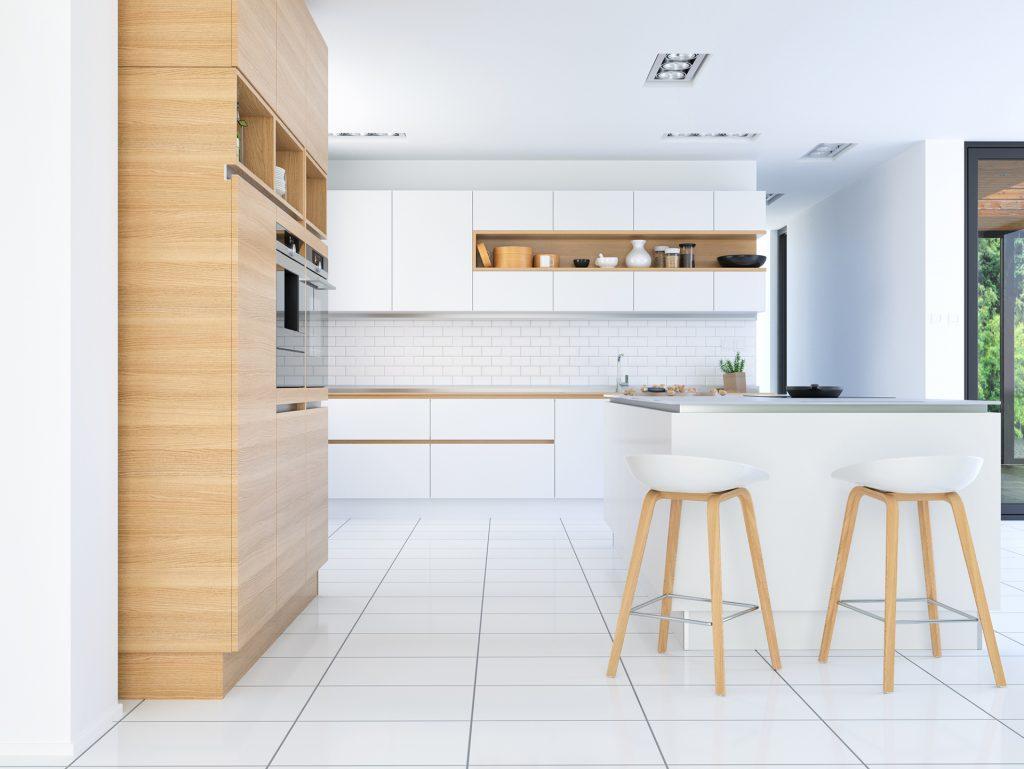 White and wooden kitchen, modern kitchen ideas, kitchen showroom kent
