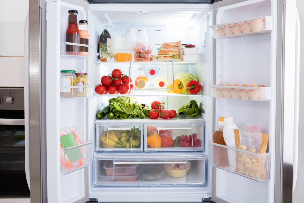fridge full of fruits and vegetables, tips for a healthy kitchen, kitchen showroom kent